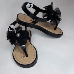 Bebe sandals black with flower detail size 7/8